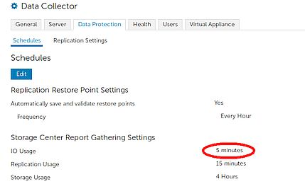 Dell Compellent Report gathering settings
